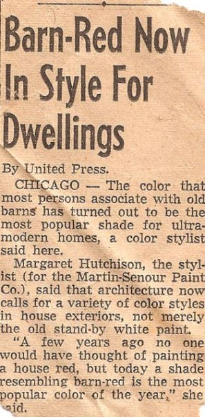 Gram was pleased to find this clipping years after first painting her house bright red.