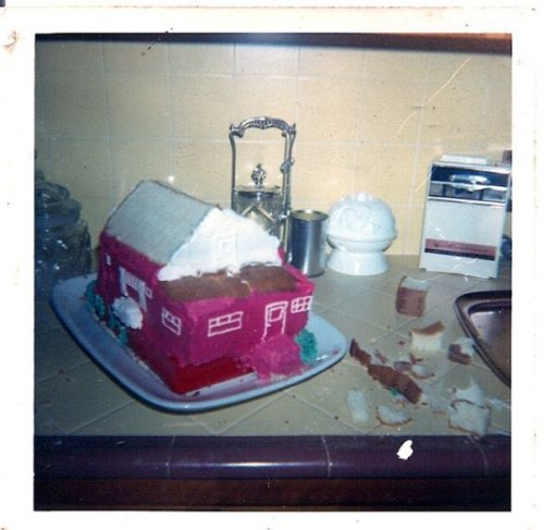 back view of house cake in progress. I think it was being constructed in my cousin's kitchen as this fancy counter was not at my grandmother's house. Wait, now I am wondering if my handsome and antique-collecting gay cousin George is the one who made this cake!!! Perhaps as a birthday surprise for my grandmother. She refused to cut into it, as I recall, and kept it until it fell apart, as cakes do.