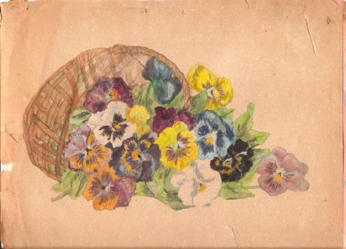 painting of pansies which I believe was done by my grandmother.