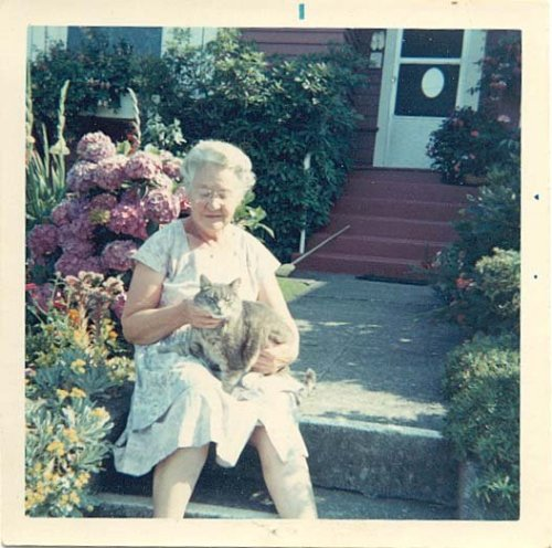 "Gram and her cat, Squeaky (Skippy's successor) on the steps by the sidewalk, by the ""watering rock"".. Her lawn was so green and perfect you could pick it out from the other side of Green Lake."