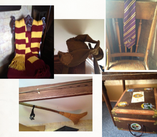 JK Rowling room with broomstick, school ties, sorting hat