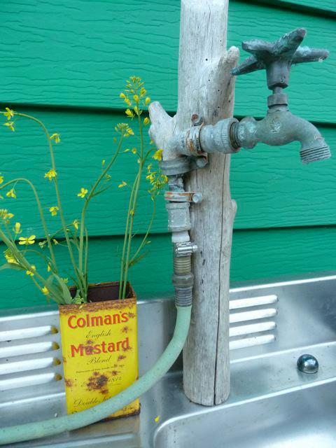 outdoor sink; mustard flowers in mustard tin
