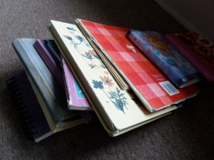 pile of journals from library attic