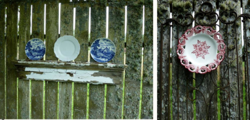 plates on a fence