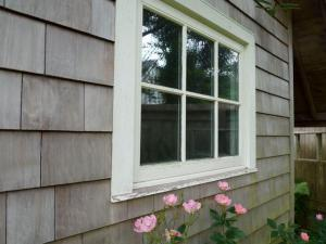 shed window with roses