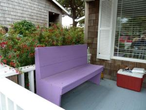 a comfortable bench for removing our shows (and it is purple!)
