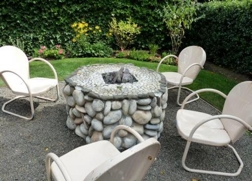 an exceptionally nice outdoor fire place