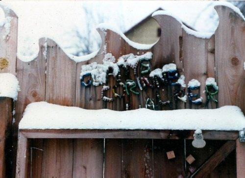 Gladys Corinne Walker gate in snow