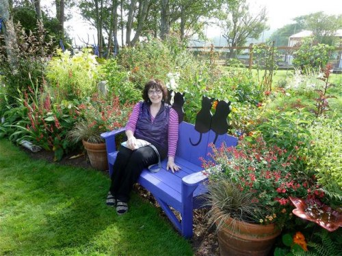 Joanie on the cat bench