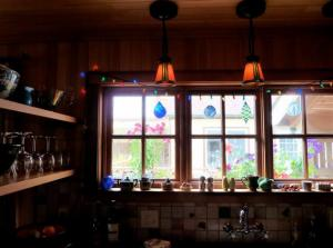 kitchen window.  To the left, shelves on metal frame.