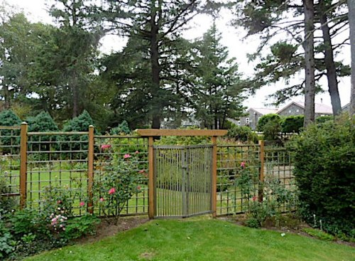 lower fenced garden with Knock Out roses and view of cottages