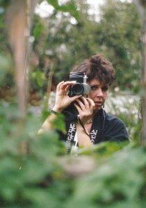 a photo in the back garden mirror, autumn 1990
