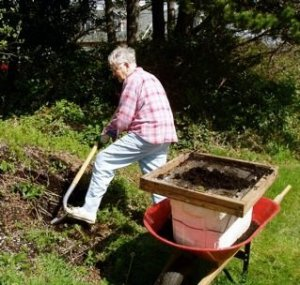 My mother gardening in 2008, age 83