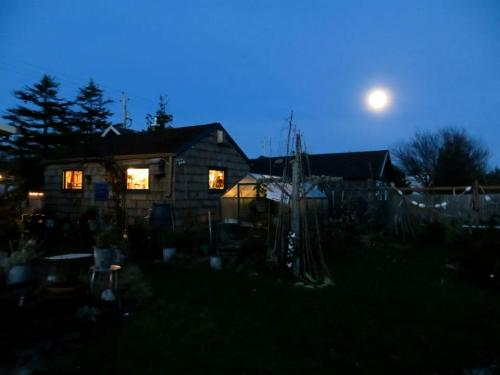 full moon over Allan's shed and the greenhouse