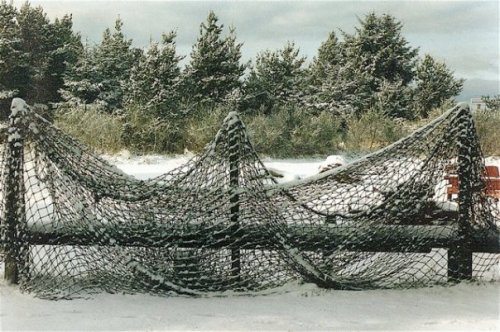 beach net in snow by the front parking area