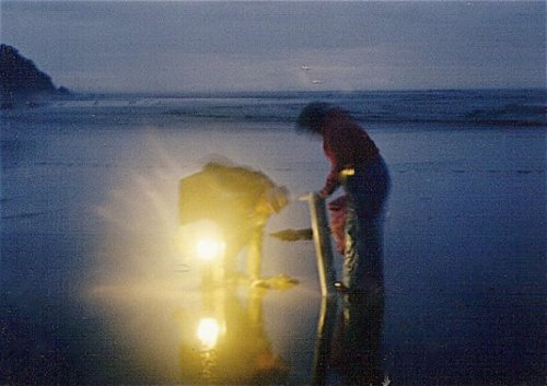 clamming by lantern in the fall