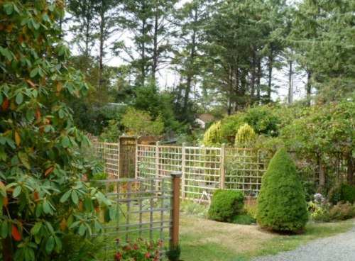from the driveway parking:  view across lawn to the fenced garden (looking northwest)
