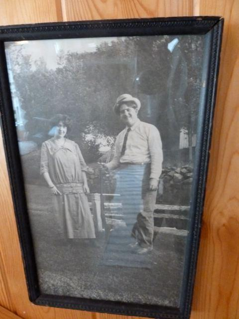 old photo at side of mirror