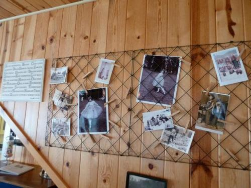 photo display on outer wall of stairway