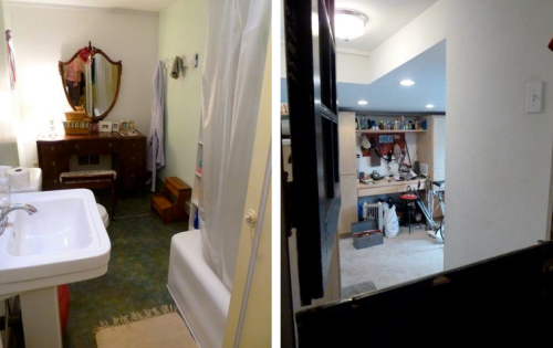 bathroom (left) and door into garage or workroom (right)