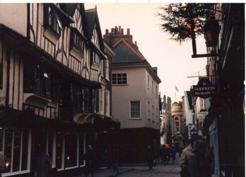 """The Shambles"", a street so narrow it is said two people could touch hands by reaching from second story windows"