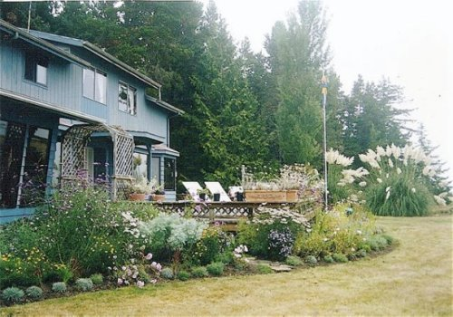 In 1998 we created this garden around Sharon's house where once had been just three scraggly rosebushes.