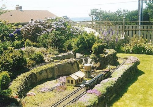 train layout in ocean view garden, Tolovana neighbourhood of Cannon Beach.