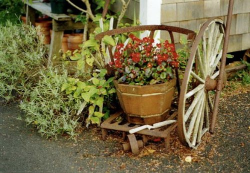 old wagon planter