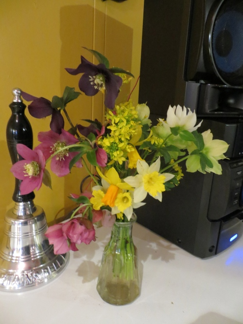 Bouquet with Hellebores, Narcissi, and mustard flowers