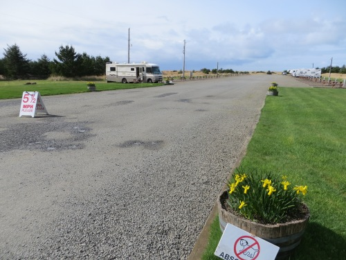 The beach is just over the dunes at the end of the RV parking sites.