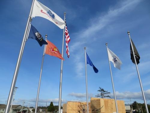 the flags of Veteran's Field