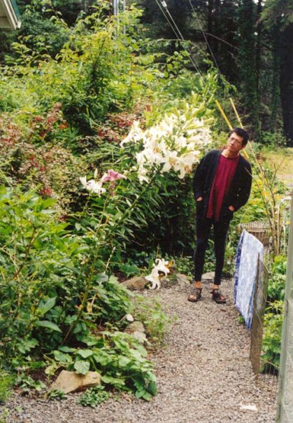 Robert and lilies, 2001.  (Robert was about 5'11'!)