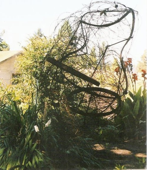mesh and metal sculpture