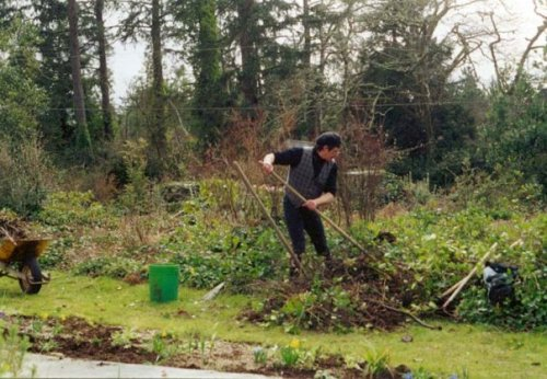 Robert working on a new border in Mom's garden