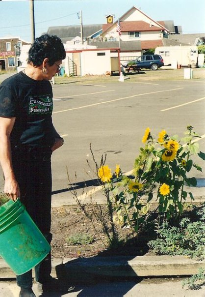 Robert with Woody's sunflowers