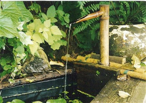 upper patio water feature in spring