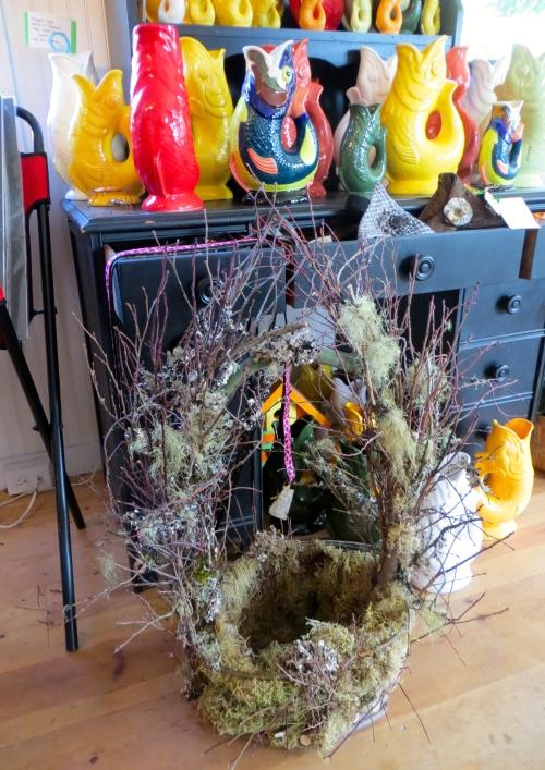 a mossy basket