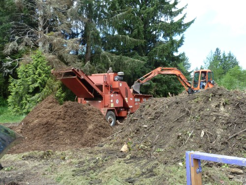 The chipper was hard at work turning debris into mulch.