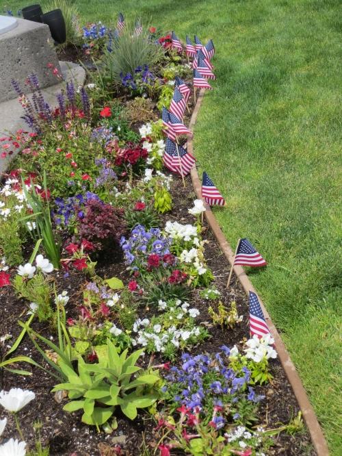 Veterans Field garden; the perennials look best.