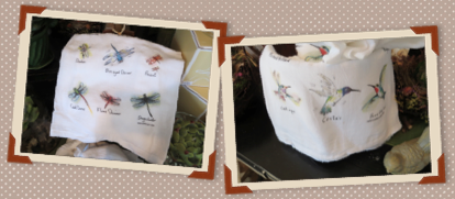 Informative tea towels with hummingbirds and dragonflies