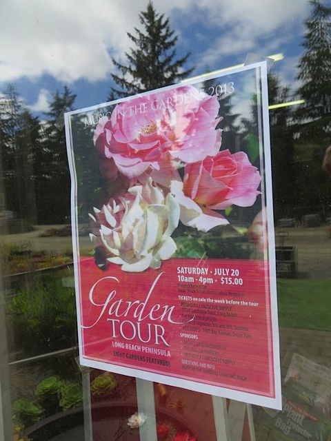 Garden tour poster in the window