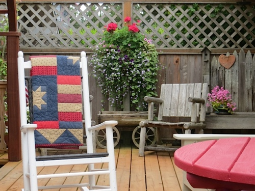 Fourth of July quilt on Jo's deck
