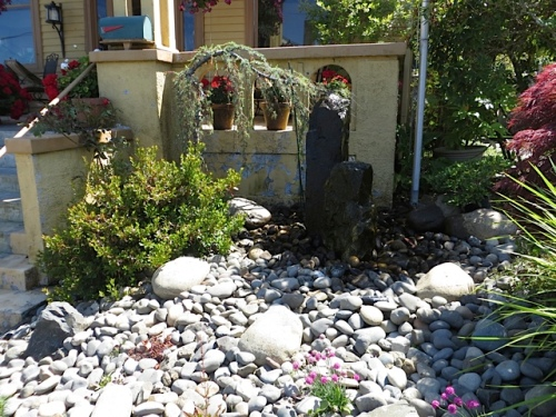 rock garden by front porch