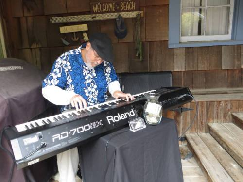 Tom Trudell was the musician at this garden and played in a cozy corner of the deck.