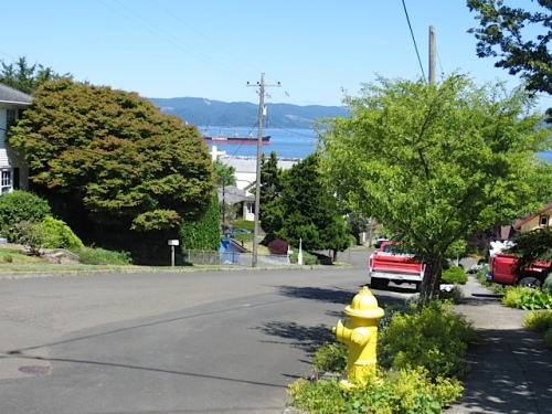 with a view of the Columbia River down the hill
