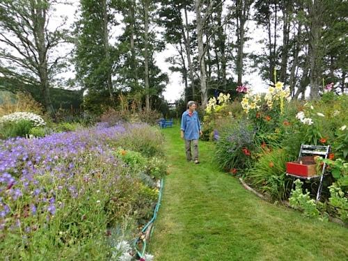Ann Gaddy in the garden