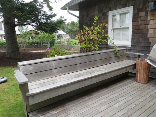 bench on a small deck