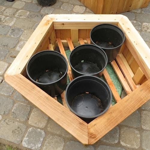 clever idea for attractive display of big plastic pots