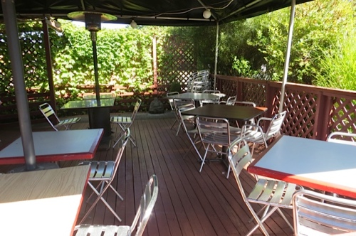 the outdoor dining deck