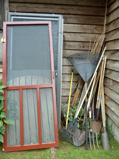 not sure where this stash of tools and old doors was.